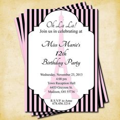 Paris Party Collection - Printable Customized Invitation  Paris Party by KatiePaigeDesign