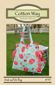 Cute tote from Cotton Way Diaper Bag Patterns, Bag Patterns To Sew, Pdf Sewing Patterns, Quilt Patterns, Sewing Projects For Beginners, Sewing Tutorials, Sewing Crafts, Bag Tutorials, Sewing Tips