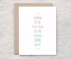 Cute Birthday Card - Happy Birthday Card, Typography, Eco Friendly Card - Best Day via Etsy.
