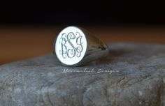 Sterling silver Oval signet ringMonogram by MinimalistDesigns