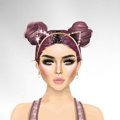 Spotted in Spotlight 🔦Baby-Na3oM1 wears Pink Double Bun wig with Glitter Part Line from the new MS.TQ collection 💜Shop the look now in Starplaza 🛍 #stardoll #stardollootd #pinkhair