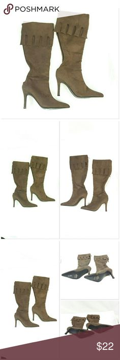 "NWOB Faux Suede  Heeled Knee High Boots size 6 NWOB, Faux Suede, Heeled, Knee High Boots, size 6, color tag says Frost, foam inside shafts, faux leather inside top lining and inside zipper lining, center back zipper, 5"" large fringed top cuff, 3 3/4"" heels, 15"" shaft. ADD TO A BUNDLE! 20% BUNDLE DISCOUNT Shoes Heeled Boots"