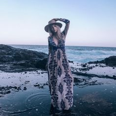 Mikinola Shopping Center taking a beach trip in our Temecula Maxi Dress #myFLL