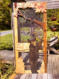 Wood screen door with hand carved bear and cub in a tree Wood Screen Door, Screen Doors, Wooden Screen, Bear Decor, Exterior Doors, Wooden Doors, Custom Wood, Decoration, Wood Art