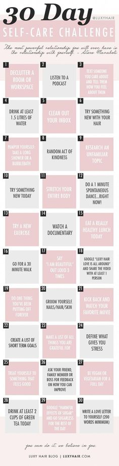 most up-to-date images Health lifestyle motivation style free, A fun 30 Day Self Care Challenge! Luxy Hair, Self Care Activities, Self Care Routine, Best Self, Self Development, Personal Development, 30 Day, Take Care Of Yourself, Self Improvement