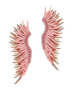 Mignonne Gavigan Madeline Earrings: 3 of beaded and fringe on a leather backed post back earring. For pierced ears. In ...