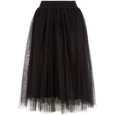 Black Tulle Pleated Midi Skirt ($26) ❤ liked on Polyvore featuring skirts, mid calf skirts, knee length tulle skirt, tulle pleated skirt, pleated skirt and tulle midi skirts