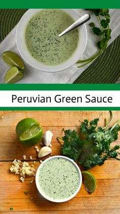 Peruvian Green Sauce makes all food taste better. Peruvian Green Sauce is a jalapeno, cilantro, garlic lover's delight! I really must say that this is WAY BETTER than ketchup! I eat it on everything! Peruvian Dishes, Peruvian Cuisine, Peruvian Recipes, Mexican Food Recipes, Vegetarian Recipes, Cooking Recipes, Healthy Recipes, Healthy Sauces, Ethnic Recipes