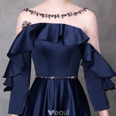 Elegant Navy Blue Evening Dresses 2018 A-Line / Princess Crystal Sash Scoop Neck Backless Long Sleeve Floor-Length / Long Formal Dresses Elegant Dresses, Nice Dresses, Formal Dresses, Kebaya Modern Dress, Mother Of The Bride Dresses Long, Classy Work Outfits, Blue Evening Dresses, Vestidos Vintage, Wedding Dress Sleeves