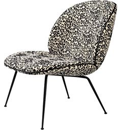 GUBI // Beetle lounge chair with Pierre Frey Jungle textile and black leather piping by GamFratesi Beetle Chair, Pierre Frey, Wicker, Interior, Furniture, Lounge Chairs, Black Leather, Design, Home Decor