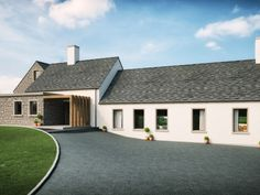 A modern family house house outside Martinstown Ballymena. Architects Slemish Design Studio specialises in modern & traditional houses all over Northern Ireland, UK & Ireland Modern Bungalow Exterior, Bungalow House Design, Bungalow House Plans, Bungalow Kitchen, Glencoe House, House Designs Ireland, Modern Architects, Local Architects, Rendered Houses