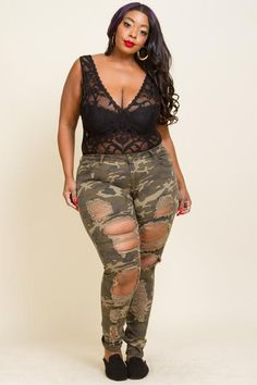 Plus Size Destroyed Camo Skinny Jeans