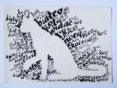 inverted calligram white cat by absurdynka.deviantart.com on @deviantART