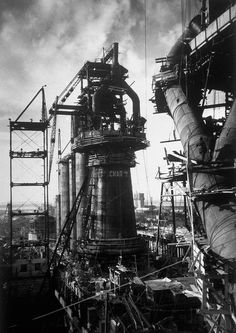 Margaret Bourke-White, Photography - Under-Construction Blast Furnace at Magnitogorsk Metallurgical Industrial Complex, Magnitogorsk, 1931 Magic Places, Margaret Bourke White, Abandoned Factory, Industrial Machinery, Steel Mill, Industrial Architecture, Modern Industrial, Industrial Photography, Harlem Renaissance