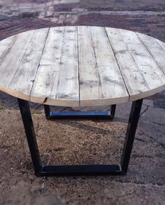 Revive Joinery - Reclaimed Scaffold Round Dining Table With Metal Frame