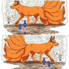 Naruto walking Kurama (The nine-tailed beast) around while the Uchiha brother (Itachi and Sasuke) watch. Naruto Vs Sasuke, Naruto Uzumaki Shippuden, Anime Naruto, Naruto Fan Art, Naruto Comic, Naruto Cute, Boruto, Sasunaru, Shikatema