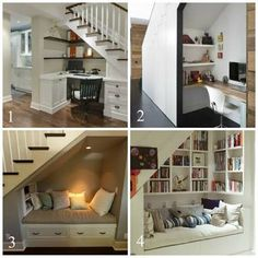 Space Under Stairs Ideas Decor Reading Nooks 54 Ideas You are in the right place about Stairs color Here we offer you the most beautiful pictures about the interior Stairs you are looki Under Basement Stairs, Under Stairs Nook, Office Under Stairs, Under Staircase Ideas, Under Stairs Playhouse, Basement Ceilings, Basement Bars, Modern Staircase, Staircase Design