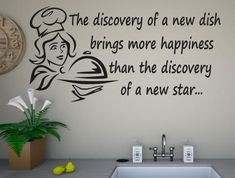 A New Dish Kitchen Wall Stickers Kitchen Quotes, Kitchen Wall Stickers, New Star, Kitchen Dishes, Vinyl Wall Art, Recipe Ideas, Discovery, Decal, Happiness