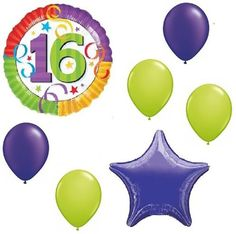 "Custom, Fun & Cool {Big Large Size 11""-18"" inch} 7 Pack of Helium & Air Inflatable Mylar Foil/Latex Balloons w/ Sweet 16 Confetti Design [Variety Assorted Multicolor in Purple, Green, Red, Yellow]"