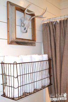 DIY Bathroom Decor Ideas - Vintage Metal Basket Towel Rack - Cool Do It Yourself Bath Ideas on A Budget, Rustic Bathroom Fixtures, Creative Wall Art, Rugs, Mason Jar Accessories and Easy Projects http://diyjoy.com/diy-bathroom-decor-ideas