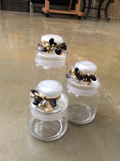 #embellished #jars #center #piece #home #filigree #accessories #table #setting #black #gold