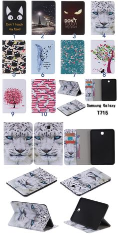 For Samsung Galaxy Tab S2 8.0 T710 T715 Card slot funda cartoon print PU Leather case cover for s2 t710 case Tablet Accessories