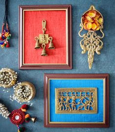 When you are snowed in.your creative juices flow to the fullest 😉. Few old cut pieces and unused frames came together this weekend. Now all I need is a wall to adorn these pieces. India Home Decor, Ethnic Home Decor, Antique Wall Decor, Vintage Decor, Funky Decor, Indian Inspired Decor, Diy Diwali Decorations, Home Design Living Room, Indian Home Interior