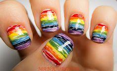 Rainbow Nail Art Featuring Zoya Nail Polish in America, Lianne, Creamy, Midori, Yummy, Ibiza and Zara