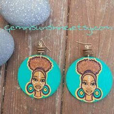 Afro Puff Mama Hand Painted Earrings by Geminisunshine on Etsy, $18.00