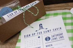 Camp-Inspired Birthday Party Invitations by Lemon and Lavender via Oh So Beautiful Paper (2)