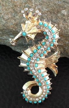 Large Seahorse Brooch gold tone detailed piece by PassingTides