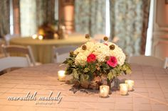 Meg and Tommy - white and pink rustic low centerpiece - southern wedding