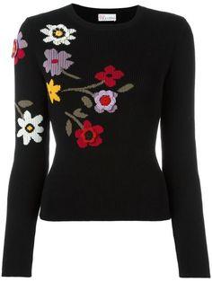RED VALENTINO crochet flower appliqué jumper. #redvalentino #cloth #jumper