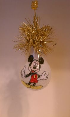Mickey Mouse handmade light bulb ornament by chris903 on Etsy