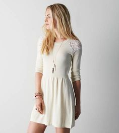 AEO Lace Shoulder Sweater Dress, Cream   American Eagle Outfitters