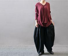 45744daa487 Women plus size linen Harem pants - Buykud- 4