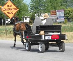 An upscale Amish wagon with bucket seats, and inflatable tires; leaving the bulk store in Elkhart IN. (c) Richard Bauman