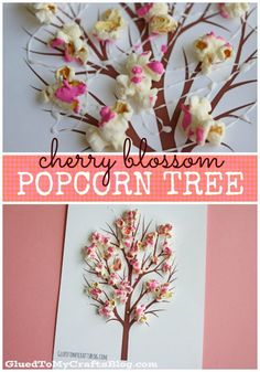 Preschool Cherry Blossom Popcorn Tree Kid Craft w/free printable template – love this idea for Spring craft! Popcorn Crafts, Popcorn Tree, Spring Activities, Craft Activities, Preschool Crafts, Cherry Blossom Japon, Cherry Blossoms, Tree Crafts, Flower Crafts