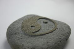 Yin Yang Engraved Grey Stone Gray River Rock