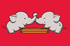 'Trunk Wrestling' Funny Cute Elephants Playing 18x12 - Vinyl Print Poster