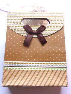 24 xfaltschachtel Cube 6,5 cm Marron 5 Set Cadeau Motif sticker