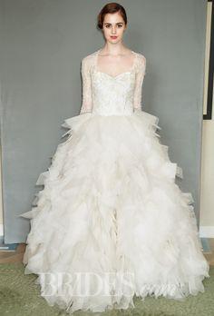 Long sleeve modest tulle layered ballgown. Brides.com: Sareh Nouri - Spring 2015. Wedding dress by Sareh Nouri