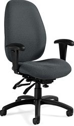 Global Total Office Malaga Series Office Chair by Global: http://www.officeanything.com/Global-Malaga-Task-Chair-TS3140-3-p/gl-ts3140-3.htm  Rated for Users Up To 350 lbs.