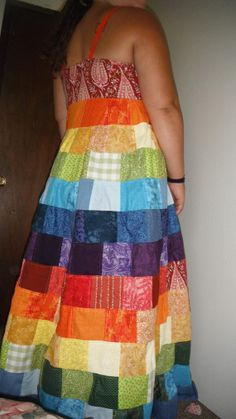 35a299bd360 Items similar to Womens rainbow patchwork hippie dress. Made to order.  Festival Grateful Dead dress on Etsy