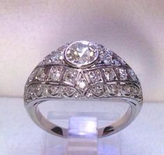 Antique Art Deco Platinum 1.37ct Old Mine Cut Diamond Dome Engagement Ring  #Jewelry #Deal #Fashion