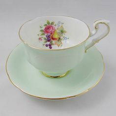 Paragon Tea Cup and Saucer Green with Fruit and Flowers