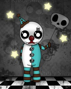 """Shadows of a Clown"" -  a clown that has many shadows. #unluckables #unluckable #unlucky #luckycharm #monster #creature #voodoodoll #voodoo #clown #creepycuteclown #creepyclown #cuteclown #skullballoon #skulls #creepycuteart #creepycute #kristiesilva #lowbrow #lowbrowart #bigeyes #bigeyeart #bigeyedart #digitalpainting #digitalart #digital #art #painting #artist"