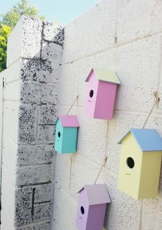 adding some colour to the garden (when you can't grow flowers! Fancy Fence, Bird Houses, Play Houses, Shabby Chic Garden, Garden Makeover, Beach Color, Do It Yourself Projects, Colorful Garden, Growing Flowers