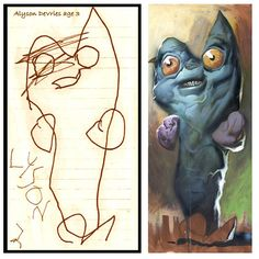 What children's drawings would look like if it were painted realistically  by RIAN on DECEMBER 4, 2011  The Monster Engine is one of those projects that make me love the Internet for its ability to expose amazing creative talent to a worldwide audience. Illustrator Dave DeVries started with a simple question: What would a child's drawing look like if it were painted realistically?