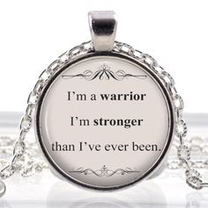 """Demi Lovato, """"I'm a warrior, I'm stronger than I've ever been,"""" Scripted Quote Glass Photo Pendant Silver Necklace Jewelry by ChicBridalBoutique on Opensky"""